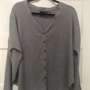 Gray long sleeve buttondown sweater